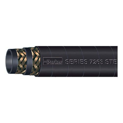 Parker Hannifin 7263-502 Black EPDM Steam-Lance 250 Steam Hose, Black, 50' Length, 1/2