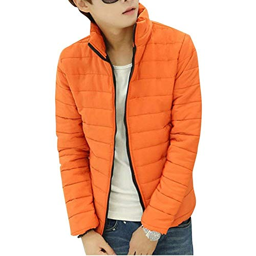 Quilted Jacket Men's Long Sleeve Stand-Up Jacket Parka Warm Collar Down Young Fashion Hooded Jacket Winter Jacket Packable Ultra-Light Down Jacket Orange
