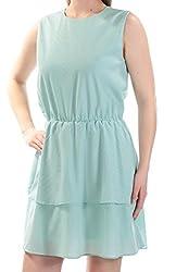 Cynthia Rowley Womens Tiered Sleeveless Casual Dress Blue S