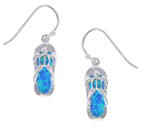 Sterling Silver Created Blue Opal Flip Flop Slipper & Turtle Hook ()