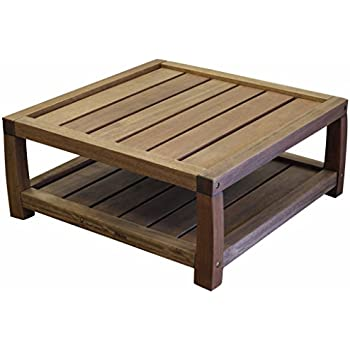 Timbo Vila Rica Hardwood Outdoor Patio Square Coffee Table, Table, Brown