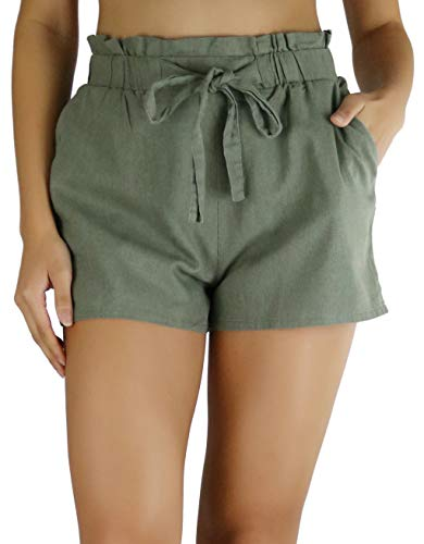 (ToBeInStyle Women's Linen Blend Paperbag Shorts - Military Green - L)