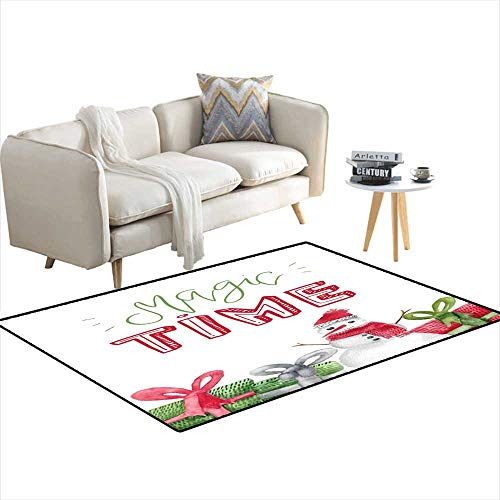Area Rugs for Bedroom Watercolor Poster wi Xmas Decoration for Wrapping Greeting Cards Snowman 3'x12'