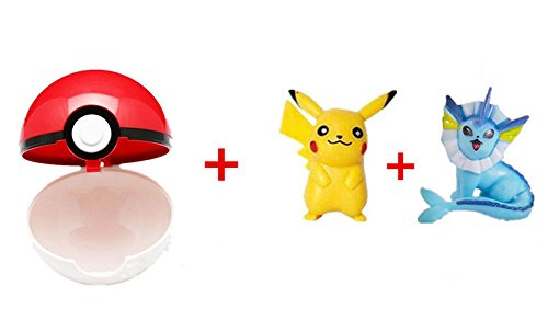 Generesence Red-White Pokeball + 2 pcs Free Random Pokemon Figures Anime Action Toys