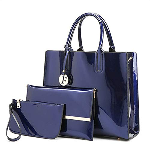 3 Sets Patent Leather Women Handbags Luxury Brands Tote Bag+Ladies Shoulder Messenger crossbody bag+Clutch Feminina,blue