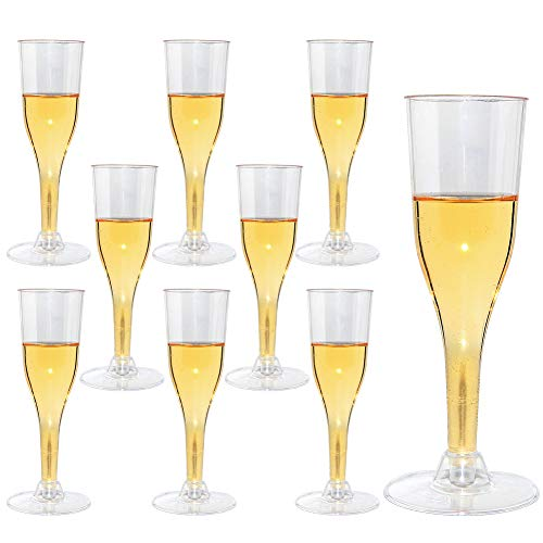 105 Piece Plastic Champagne Flutes, 5 Oz Clear Champagne Glasses, Premium Disposable Champagne Cups Prefect for Wedding and Party ()