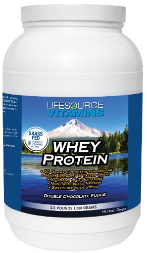 LifeSource Vitamins 3.3 lb Grass Fed Whey Protein Isolate Double Chocolate Fudge w/Stevia