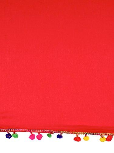 Dupatta Bazaar Woman's Red Chiffon Dupatta with Multicoloured Pompom by Dupatta Bazaar (Image #6)