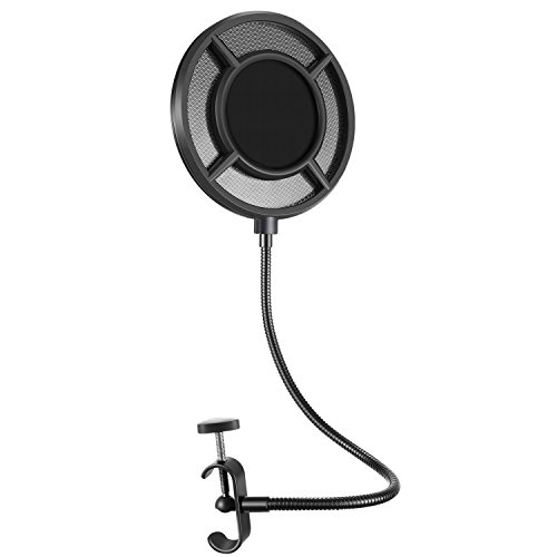 Neewer Upgraded 6-inch Microphone Pop Filter - Dual Nylon Layer Windscreen Mask Shield with Mesh Metal Mezzanine, Flexible Gooseneck and Mic Stand Clamp for Studio Recording and Broadcasting (Black) Nylon Windscreen