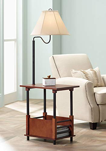 Marville Mission Floor Lamp End Table Swing Arm Farmhouse Wood Open Crate Design Empire Shade for Living Room Reading Bedroom - Regency Hill (Crate And Barrel Accessories Office)