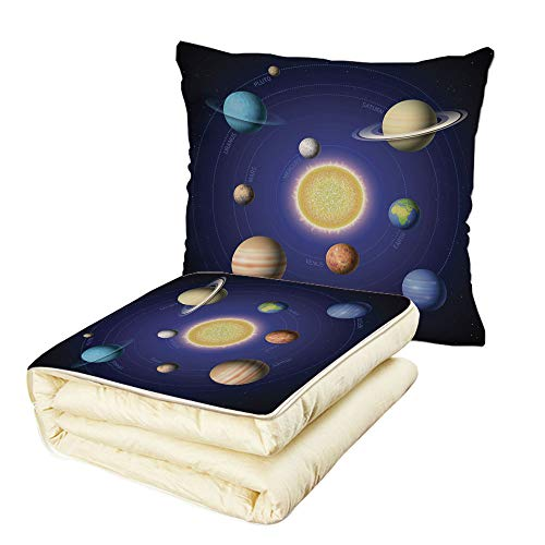 iPrint Quilt Dual-Use Pillow Space Solar System Illustration Showing Planets Around Sun Harmony of Galaxy Science Room Image Multifunctional Air-Conditioning Quilt Multi by iPrint