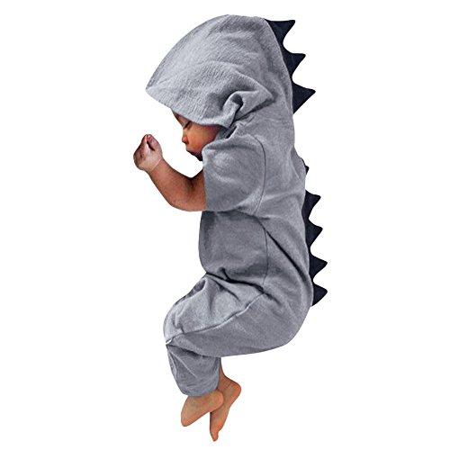 FEITONG Newborn Infant Baby Boy Girl Dinosaur Dorsal Fin Onesies Hooded Romper Jumpsuit(12-18M,Gray) ()