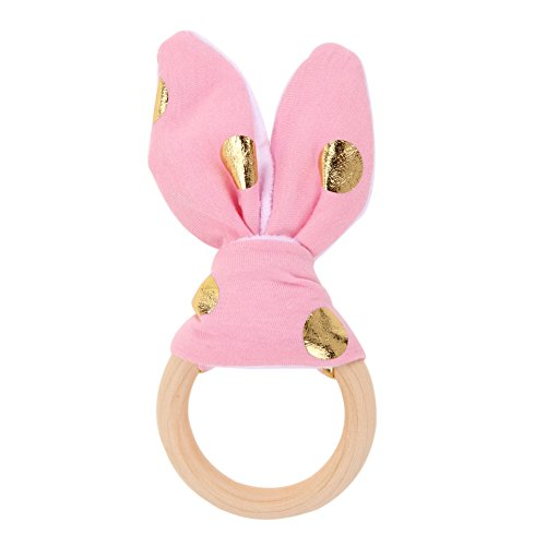 Baby Soft Rabbit Ears Wooden Hand Grasp Developmental Toys (Pink) - 1