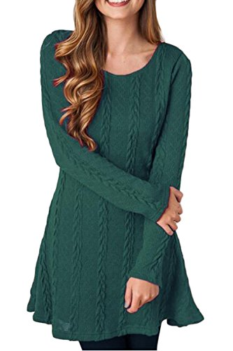 Mulisky Womens Casual Crewneck Knitted Long Sleeve A Line Sweater Dress Green M