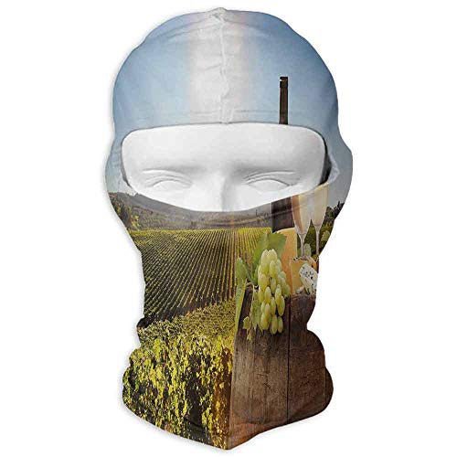 Fishing Mask Winter Sports Wine White Wine with Barrel on Famous Vineyard in Chianti Tuscany Agriculture Green Brown Pale Blue