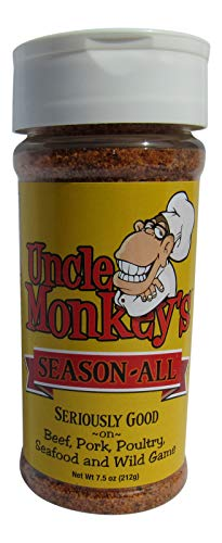 (Uncle Monkeys Season All, Gourmet BBQ Rub and Seasoning for Meats and Vegetables, One 7.5 Ounce Bottle)