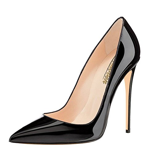 Modemoven Women's Black Pointy Toe High Heels Slip On Stilettos Large Size Wedding Party Evening Pumps Shoes 6 M US