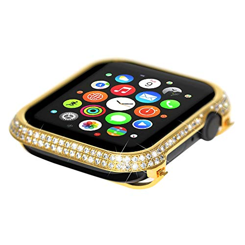 Leotop Compatible Apple Watch Case Series 4 40mm 44mm, Metal Bumper Protective Cover Bling Shiny Frame Rhinestone Glitter Diamond Compatible iWatch Women Girls (Luxury A+ Gold, 44mm)