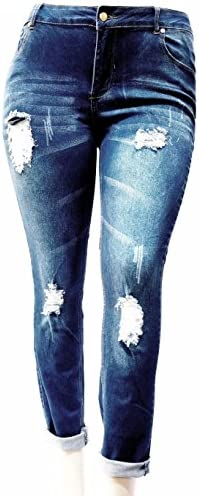 1826 Jeans Omega Womens Plus Size Ripped Destroy Blue Denim Roll up Distressed Jeans Pants