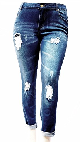 OMEGA WOMENS PLUS SIZE BLUE Denim Stretch Ankle JEANS Skinny Distressed Pants (16)