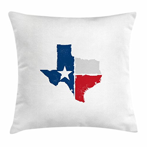 Texas Throw Pillow Cushion Cover by Lunarable, Distressed State Outlines Fort Worth Austin Borders Flag Design the Lone Star, Decorative Square Accent Pillow Case, 24 X 24 Inches, Dark Blue - Square Fort Worth