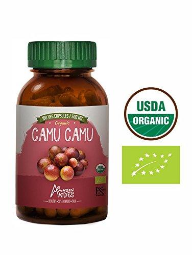 Camu camu Powder - 100 Pills * 500 mg - 100% NOP USDA Organic - Vegan Capsules - Supplement from Peru - Amazon Andes - Vitamin C - Powder Camu