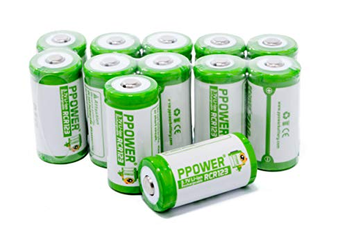 PPOWER CR123 RCR123A Rechargeable Batteries (12-Pack) 3.7V Battery Arlo Wireless Security Cameras (VMC3030/VMK3200/VMS3330/3430/3530) CE/IEC62133 Certificated