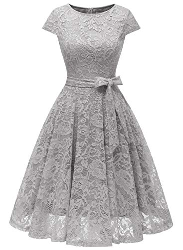 MUADRESS 6008 Women Short Lace Bridesmaid Dresses with Cap-Sleeve Formal Party Dresses Grey XX-Large
