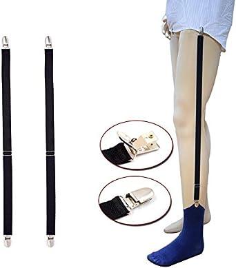DonDon Tirantes con soporte para camisa e calcetines el/ástico y largo ajustable negros 2 piezas
