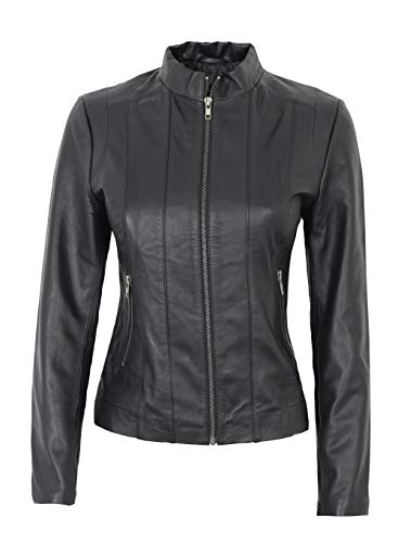 Black Leather Jacket Women - Genuine Lambskin Leather Jackets | Tresa, XS