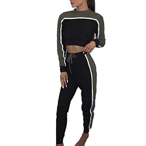 2 Funny Womens Tracksuit - 2018 Spring Tracksuit! Napoo 2Pcs Women Short Patchwork Tops+ Drawstring Pants Sets Sportwear (L, Army Green)