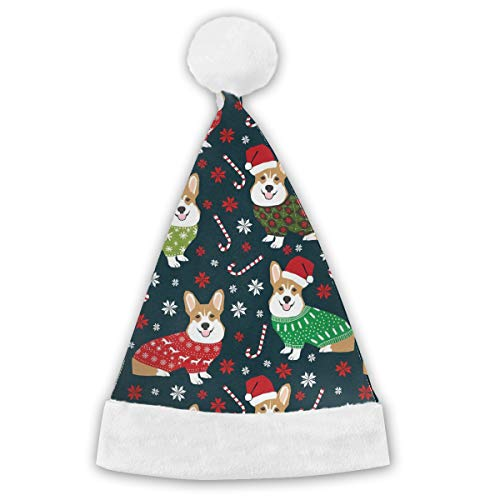 Christmas Corgi Xmas Party Santa Costume Hat Christmas Hat Delicate Printing Headdress Party Hat]()