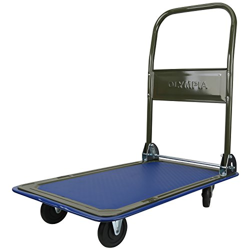 Olympia Tools 85-180 Folding & Rolling Flatbed Cart for Loading, Olive Green with Blue Bumper, 300 Lb. Load Capacity