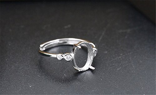 Luoyi Adjustable Sterling Silver Ring Blank, Oval Cabochon Settings Claw Ring (R011B) ()