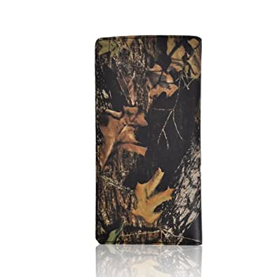 Motony Genuine Leather Camouflage Pattern Retro Womens and Mens Wallet Black
