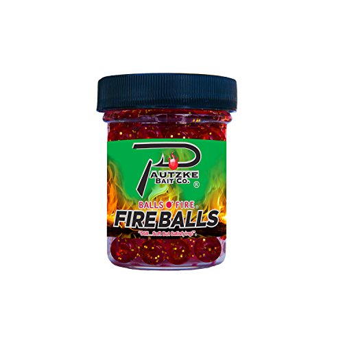 Pautzke Bait Fire Balls Glitter Fishing Bait, Red, 1.65 oz -