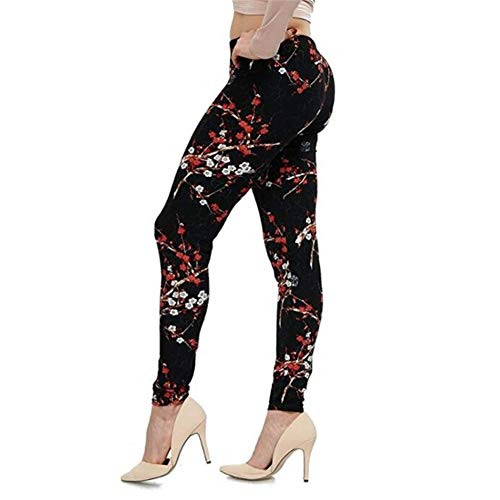 ZZYUBB Yogabyxor tryck blomma leggings plusstorlek leginer gitarr pläd tunn byxa mode kvinnor fitnessbyxor (färg: PD27, storlek: XX-Large)