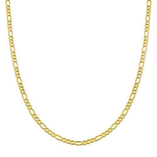 (10K Yellow Gold 3mm Solid Figaro Chain Necklace (28 inches))