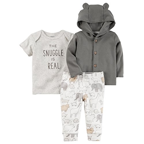 Carter's Baby 3 Piece The Snuggle Is Real Tee, Hooded Cardigan, Animal Pants Set 9 Months, Gray