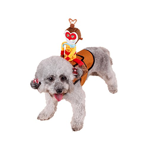 WeeH Dog Costume Halloween Clothes Cat Costumes Pets Ride-on Clothing Funny Cosplay Accessories for Animal Doggy Kitty Rabbits Pig Piggy Christmas Gift, Rider Monkey King, L (Kitty Christmas Costumes)