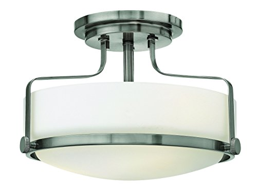 Hinkley 3641BN Restoration Three Light Semi-Flush Mount from Harper collection in Pwt, Nckl, B/S, (Restoration Flushes Collection)