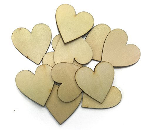ALL in ONE Natural Unfinished Cutout Shape Wooden Hearts for DIY home decoration (1-1/2