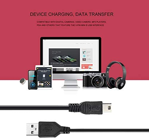 Emily High-Speed 80cm USB 2.0 Male A to Mini B 5-pin Charging Cable For Digital Cameras Hot-swappable USB Data Charger Cable Black Black
