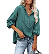 REVETRO Womens V Neck Long Sleeve Henley Shirts Button Down Sweatshirts Hoodies Tunic Tops with D...