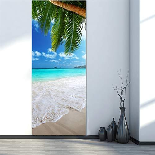 3D Beach Door Sticker Fridge Decals Mural Home Wall Decorations (Fridge Decal)