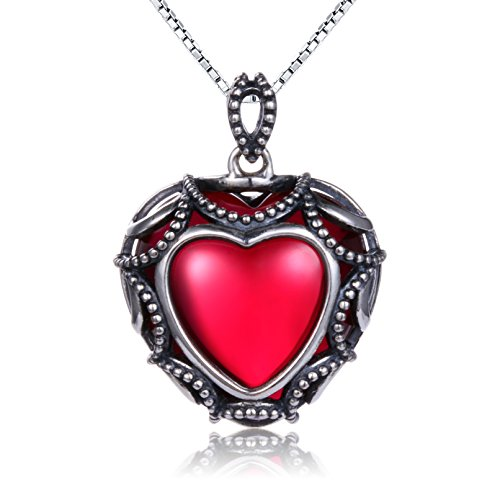 ❄Christmas Gifts❄ 925 Sterling Silver Heart Pendant Necklace for Women Create Red Corundum Christmas Gift Antique Heart Pendant