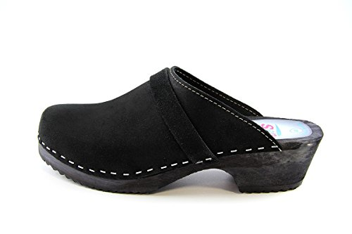 Original tres Sweden clogs black made of Suede with dark Sole - Black (Black), UK 4