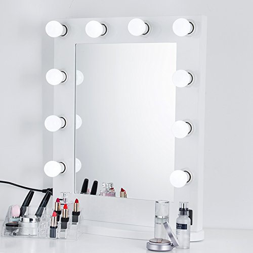 WHITE & BLACK Hollywood makeup Vanity tabletop Mirror with Switch, light adjustable, Makeup-Ready, Bulbs Around , Cosmetic mirror, factory sale (WHITE) (Vanities Makeup Sale For)