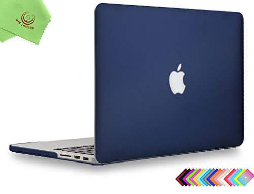 UESWILL Matte Hard Case for MacBook Pro (Retina, 15 inch, Mid 2012/2013/2014/Mid 2015), Model A1398, NO CD-ROM, NO Touch Bar + Microfibre Cleaning Cloth, Navy Blue