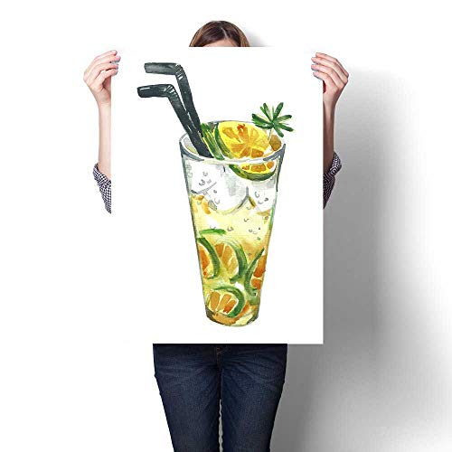(Canvas Print Wall Art Illustration of Summer Cocktail Mojito on a White Background Mojito with a Lime and Mint Leaves Inside The Glass Artwork for Wall Decor 32
